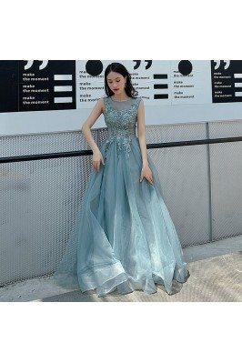 Mist Blue Long Tulle Beaded Lace Long Prom Dress Illusion Neckline - AM79124