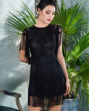 Black Round Neck Lace Mesh Dance Party Dress With Fringes LE99360