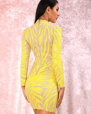 Bright Yellow Geometric Pattern Sequins Bodycon Mini Dress With Long Sleeves LE98731